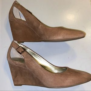 BCBG BCBGeneration Suede Leather Wedge Shoes Ta…
